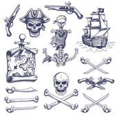 Set of vintage hand drawn pirates designed elements — Stock Vector