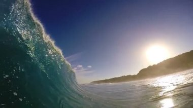 POV Surfing View Empty Ocean Wave Crashing — Stock Video