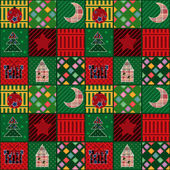 Nahtlose weihnachten elemente patchwork hintergrundmuster — Stockfoto