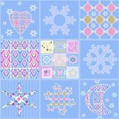 Patchwork seamless christmas pattern geometric elements backgrou — Stock Photo