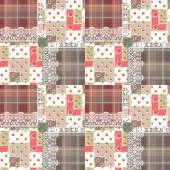 Patchwork seamless pattern circles checkered lace background — Stock Photo