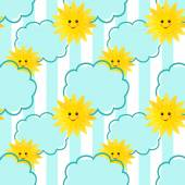 Seamless sun and clouds kids pattern background — Foto de Stock