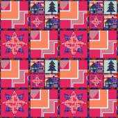 Christmas tree and house seamless pattern background patchwork — 图库照片