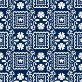 Floral seamless in damask style design pattern navy background — 图库照片