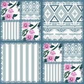 Patchwork retro striped floral texture pattern pastel background — Stock fotografie
