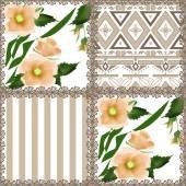 Patchwork retro orange checkered floral texture pattern backgrou — Stock fotografie