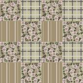 Patchwork retro colors checkered floral pattern background — Stock fotografie