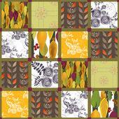 Patchwork retro autumn floral pattern background — Stock fotografie