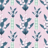Lilies of the valley seamless pattern pastel pink background — Stock Photo