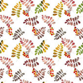 Seamless pattern with colorful autumn leaves and berry on white — Stock Photo