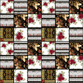 Patchwork retro red roses textile texture pattern background — Fotografia Stock