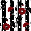 Seamless floral pattern with red poppies striped background — Stock Photo #60241355