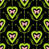 Valentine bright seamless pattern hearts butterfly texture black — Stock Photo