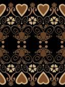 Retro hearts valentines day ornament seamless pattern on black b — Стоковое фото