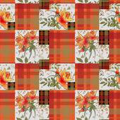 Abstract seamless patchwork checkered plaid textile retro design — Stock Photo