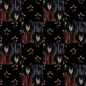 Patchwork squares seamless pattern cherry and tulips texture bac — Stock Photo