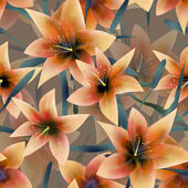 Seamless pattern with orange lilies texture background — Stock Photo