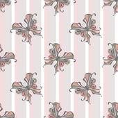 ストライプの背景にシームレスなヴィンテージ蝶模様 — ストック写真