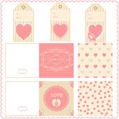 Scrapbook elements Valentines for design vector patterns tags an — Stock Vector