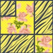 Patchwork seamless floral roses pattern texture background — Stock Photo #63078191