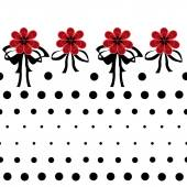Seamless floral pattern with red flowers on white background dot — 图库照片