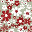 Seamless floral pattern with cute cartoon flowers background — Stock Photo #63354935