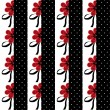 Seamless floral pattern with red flowers striped background — Stock Photo #63355051