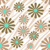 Flowers on tiger wild skin leather seamless pattern texture back — Stockfoto