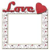 Älskar ram med hjärtan och text — Stockfoto