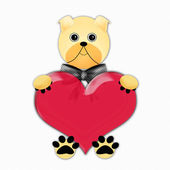 Valentine with dog holding heart — Foto de Stock
