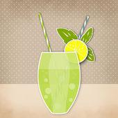 Priorità bassa di calce cocktail limone. Vetro della bevanda con il tubulo. Retr — Foto Stock