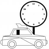 Black and white cartoon Illustration of car for coloring book — Stock Photo