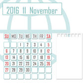 Abstract design 2016 calendar with note space for november — Stock Photo
