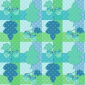 Seamless cartoon childish pattern in a patchwork style with leav — Stock Photo