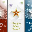 New Year greeting cards with stars and snowflakes set vertical vector — Stock Vector #52591599