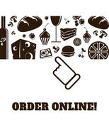 Online order food and drinks icons horizontal vector — Stock Vector