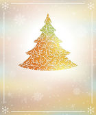 New year tree with snowflakes orange vitage vintage background vector — Stock Vector