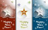 New Year greeting cards with stars and snowflakes set vertical vector — Stock Vector