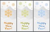 Happy New Year greeting cards set vector — Stock Vector