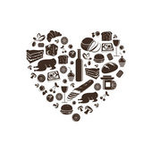 Lovely food and drinks heart icons vector — Stock Vector