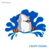 Funny friendly shark in splash vector — Stock Vector