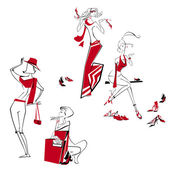 Happy shopping girls in red with bags and shoes — Vector de stock