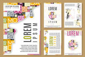 Set of flyer, brochure  cover design templates. beauty and fashion modern backgrounds. mobile technologies, applications and online services infographic concept. — Wektor stockowy