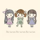 Drie kleine meisjes — Stockvector
