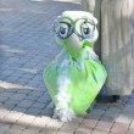 PERM, RUSSIA - JUN, 23, 2014: Green bird puppet at show of Perm  — Stock Photo #60124895