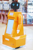 PERM, RUSSIA - APR,25, 2014: Robot promoter in Shopping center C — Stock Photo