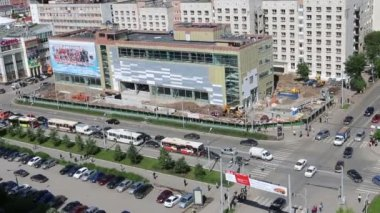 PERM, RUSSIA - JUN 12, 2014: Above view of shopping center under construction. Iceberg Crystal mall should be ready to December 2014 — Stock Video