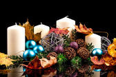 Christmas candles on a black background — Stockfoto