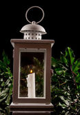 Christmas lantern on black background — Stock Photo