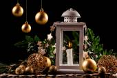 Christmas decoration lantern with burning candle — Stock Photo